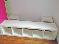 Materials: 1 Expedit shelving unit, 2 Expedit Cubes, 1 Pax, 1 Billy + height extension unit Description: My 3 years old son needed a big bed, but he's got a very small room. I have to find something to store toys, books and clothes, and I've found the idea on Ikeahackers here. Step 1 : …