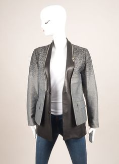 Grey and Black Cotton and Leather Ombre Blazer Jacket