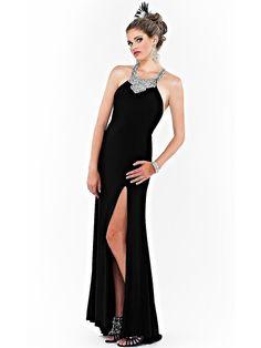 Sheath Floor Length Slit Diamantes Embellished Bust Black Chiffon Skirt Evening Dress