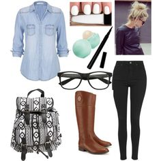 First day of school by fashiongirlxcx on Polyvore featuring polyvore fashion style maurices Topshop Tory Burch Wet Seal Eos