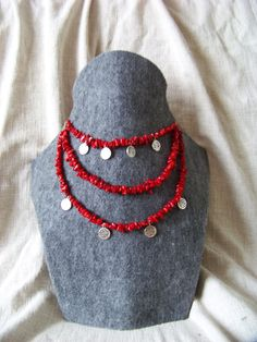 Korali. Inspired by ukrainian and huculi jewelry. Precious coral and silver. Red, folk necklace. Slavic.