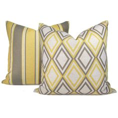 Gray and Yellow pillow cases - Geometric print and stripe print pattern on each side - 18x18 accent pillow covers set of two (2). $58.00, via Etsy.