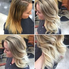 Before and after a full, heavy balayage and olaplex! Amazing. Hair by Elle at Tacoma Gene Juarez