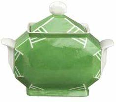 "Art Deco Bernardaud Limoges porcelain covered sugar bowl in the ""Nice"" shape- c.1925 airbrush decoration on a white porcelain background Manufacture Bernardaud sucrier forme ""Nice"" à décor au pochoir"