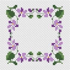 Violets Border free cross stitch pattern