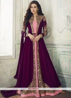 Jacket style anarkali salwar kameez latest collection maroon with georgette fabric online available at best prices. Maroon anarkali suit is georgette fabric top and pink color santoon fabric bottom and inner with chiffon fabric dupatta. Robe Anarkali, Costumes Anarkali, Anarkali Suits, Anarkali Bridal, Churidar Suits, Pakistani Bridal, Abaya Style, Designer Anarkali, Abaya Fashion