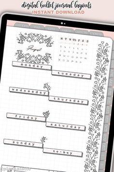 Bullet Journal School, Bullet Journal Digital, Bullet Journal Inserts, Bullet Journal Weekly Layout, Bullet Journal Monthly Spread, Bullet Journal Notebook, Bullet Journal Aesthetic, Bullet Journal Themes, Minimalist Bullet Journal Layout