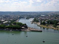 Koblenz, Germany: this pic shows the German Corner -- where the two rivers meet!