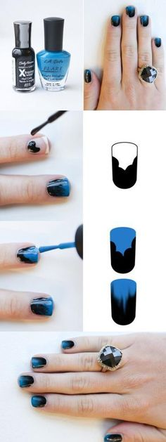 OK, ombre nails are cool. Looks like the trick to this is applying the second color while the first is still wet. Then, the colors must bleed together to create the gradient.