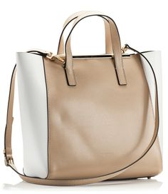 Coccinelle AMY Colorblock beige and white saffiano leather tote bag