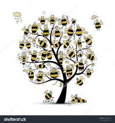 Art tree with family bees, sketch for your design