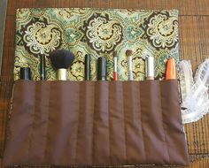 Makeup Brush Roll Travel Quilted Cosmetic by AllAmericanaCrafts