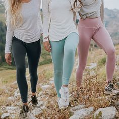 comfy NEW leggings {Granite, Millcreek Blue & Rosewood} - pair them with ANY of our adorable {Go Long Crews} | @albionfit