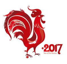 Red Rooster. Symbol of 2017 on the Chinese calendar. Red cock vector template for New Year's design.