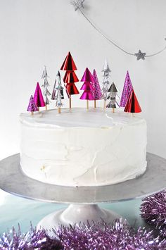 Glam up your cake with metallic tree toppers.