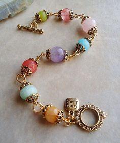 Multi Gemstone Bracelet with Amethyst, Jade, Quartz. Gemstone Bracelets, Handmade Bracelets, Gemstone Jewelry, Handmade Wire, Chain Bracelets, Amethyst Bracelet, Stackable Bracelets, Handmade Beaded Jewelry, Recycled Jewelry