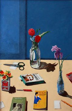 Artist: Paul Wonner, Title: Study for Still Life with Flowers and American Writers
