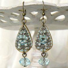 Beaded Filigree and Leather Teardrop Crystal Earrings ❤ by Viridian