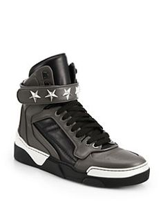 Givenchy - Tyson Leather High-Top Sneakers <br>