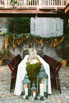 Courtyard dinner // Dying over the greenery and twinkle lights.