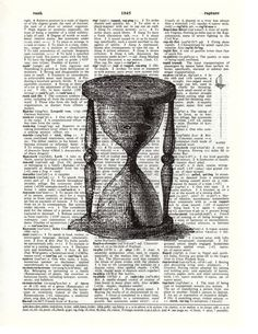 Vintage Black And White Hourglass Art Print On Upcycled Dictionary Page. $6.99, via Etsy.
