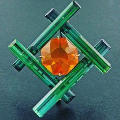 Tourmaline and Fire Opal brooch. Platinum #jamestaffindegivenchy