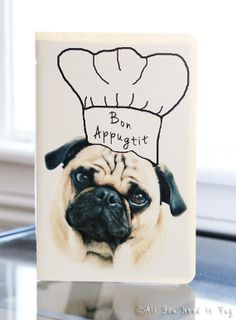 Bon Appugtit Pug Recipe Journal by AllYouNeedIsPugShop on Etsy, $6.00 #allyouneedispug #pug #pugs #pets #dogs #cooking #kitchen #recipe #recipes #vegan #recipebook #journal #recipejournal #handmade #etsy