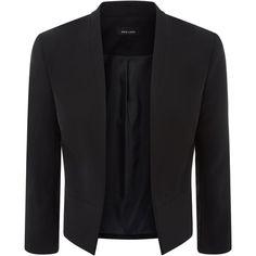 Black Crepe Blazer ($41) ❤ liked on Polyvore featuring outerwear, jackets, blazers, crepe jacket, crepe blazer and blazer jacket