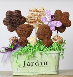 """Christy's Gourmet Gifts, Burlington, ON   """"Jardin"""" cookie bouquet includes chocolate-covered cookies and chocolate-covered marshmallows. Perfect for a centerpiece or for a gift to a gardening lover.   #cookie #cookiearrangement #spring #springtime #garden"""