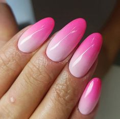 Acrylic almond nails ombre pink 56 new Ideas - Care - Skin care , beauty ideas and skin care tips Pink Ombre Nails, Glitter Gel Nails, Glitter Acrylics, Gel Nail Art, Pink Nails, Acrylic Nails, Pink Sparkle Nails, Pastel Nails, Nail Nail