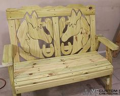 This 2×4 sitting bench would be a perfect addition to your ranch with the detailed horse cutouts.