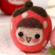 WE ARE SO CUTE ! Circle wood fruit doll wool felt poke fun material handmade diy kit set CARTOON