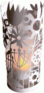 Silhouette Design Store - View Design #77491: flower meadow papercut cylinder lantern