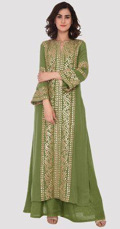 Mehandi Green Gota Patti Embroidered Kaftan Kurta With Mukaish Palazzos Pakistani Dress Design, Pakistani Dresses, Indian Dresses, Sharara Designs, Saree Blouse Designs, Designer Party Wear Dresses, Indian Designer Outfits, Party Wear Frocks, Ethnic Dress