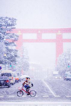 Snow in Kyoto, Japan