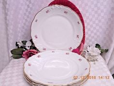 8259 by Walbrzych China Small Roses, Embossed Edge, Gold Trim, 4 Dinner Plate  #Luxury #Dinnerware, #Crystal, #cupcake #glass #tabletop #handmade #handcrafted #Bath  #Body #products #lotions #bathbombs #Cup #dinner #serving