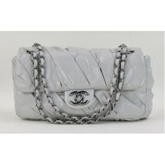 Chanel Grey Glazed Calfskin Leather Twisted Flap Bag @ #MoshPosh