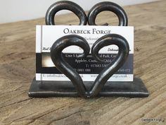 Heart Business Card Holder Blacksmith Hand Forged