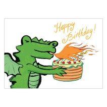 Coole Geburtstagskarte mit feurigem Drachen und Torte: Happy Birthday