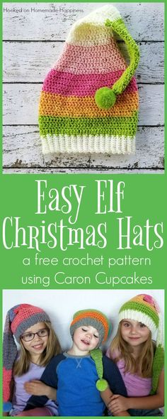 One Caron Cupcake is the perfect size to make these elf-like hats! I made all three hats the same size. Because of the loose nature of the pattern, they fit my 3, 5, and 7 year old. To adjust the size of the hat you could hook down or up a size. It's a super …