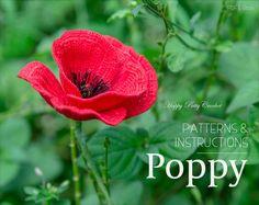 Crochet Poppy Pattern  Crochet Flower Pattern  Poppy Flower