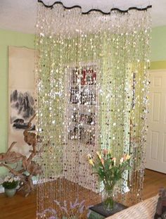 Wave Beaded Curtain -- Silver  Bubbles -- 2 Feet Wide -- 8 Feet Long