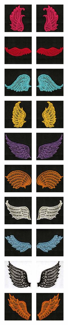 FSL Wings Embroidery Machine Design Details