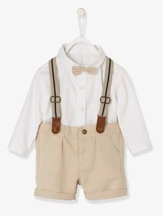 Baby Boys' Outfit: Shirt + Bermuda Shorts with Braces + Bow Tie - WHITE LIGHT SOLID - 2
