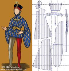Historical Costume, Historical Clothing, Clothing Patterns, Sewing Patterns, 18th Century Fashion, 14th Century, Medieval Costume, Costume Patterns, Renaissance Fair