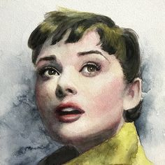 Audrey Hepburn watercolor painting by Misty Segura-Bowers 6x6 inch on aquabord
