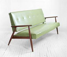 mid century green sofa
