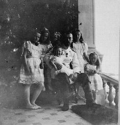 Imperial Russia, Tsar Nicholas II with his daughters and baby son,...