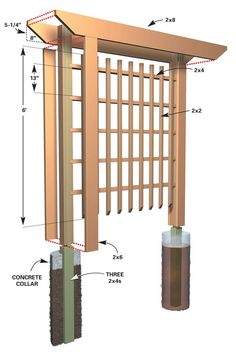 Wood Garden Trellis Designs Inexpensive Landscaping for Attractive Entryways The Family Handyman Backyard Projects, Outdoor Projects, Garden Projects, Garden Ideas, Garden Inspiration, Diy Garden, Diy Projects, Trellis Design, Garden Arbor