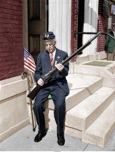 91 year old Civil War vet Samuel Johnson. Delaware. (Colorized Photo) 1941.